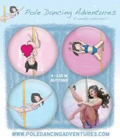 Pole Dancing Button Pack! by lenity