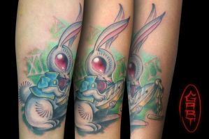 Rabbit Tattoo Alice in wonderland by AbrahamGart