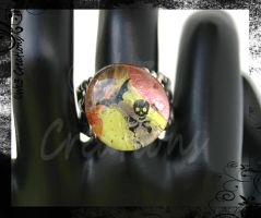 Bat and Skull Orange - Green Ring by kelleejm1
