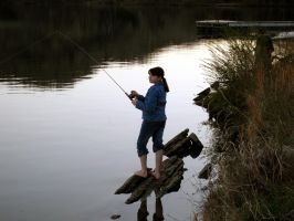 Photo: Barefoot Girl Fishing by AskGriff