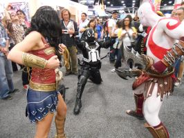 Agent Venom vs Wonder Women and Kratos by pa68