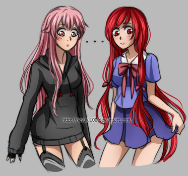 Yandere and Yangire exchanging Clothes - Sketch by Nasuki100