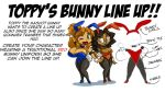 Toppy's Bunnie Line Up by ShoNuff44