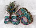 Peacock Green Brocade Couples Masks by DaraGallery