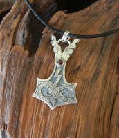 Thor's Hammer Pendant with Jormungandr by metalhed2g