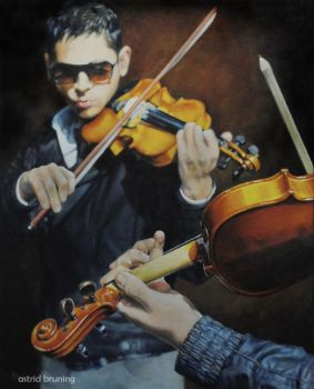 Romancing the Strings - Oil Painting by AstridBruning