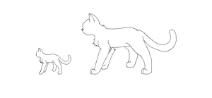 small and large cat lineart by 0swiftfang0