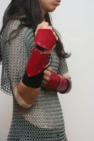 Black and Red Leather Elven Bracers by Versalla