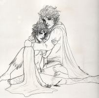 Frodo and Sam at Cirith Ungol by Maurexen