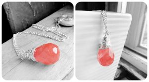 Cherry Quartz Teardrop Sterling Silver Necklace by crystaland