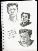 Sketching the face of Chris Colfer by ThePotatoStabber