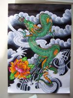 Green Dragon and Lotus by Elbaco