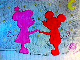 Romantic Mice Silhouettes by SecretlyMinnieMouse