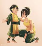 Lin and Toph by nekokonut