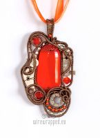 Orange steampunk pendant by ukapala