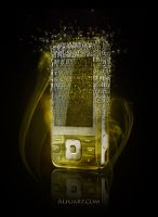 Fragmented golden phone by AlexandraF