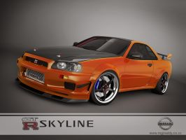 nissan skyline GTR R34 orange by 3dmanipulasi