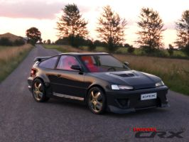 honda CRX black shadow by teamgandaia3