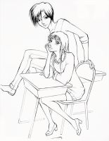 Joshua und Caroline Line art by princess-vi