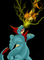 Feraligatr VS Raichu by TheRaineDrop