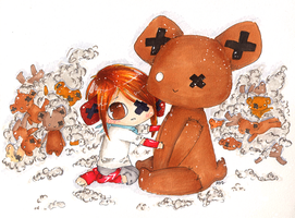 Commish: Chommpy and his bear by minipolkadots