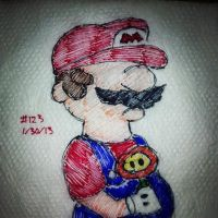 Napkin Art 123 - Surly Mario - Nintendo by PeterParkerPA