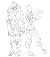 Tali and Garrus sketch by oliverkrings