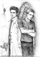 Supernatural-Castiel And Dean by syren007
