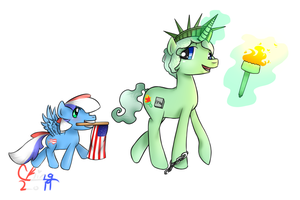 Filly Liberty and Foal Glory by Pinkie321Pie