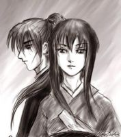 battousai and tomoe sketch by hakubaikou