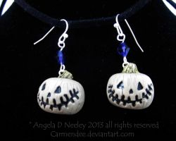 White Jack' O Lantern Halloween Earrings by carmendee