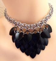 Black Mini Scalemaile Necklace by Divulged