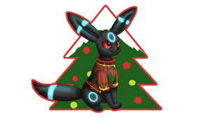 Umbreon in an Ugly Christmas Sweater by MyataTheCupcake