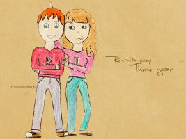 Ron and Hermione Third year by MissWeasleyJB