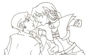 Tenel Ka and Jacen uncolored by RachelAV