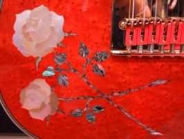 Roses inlaid mother of pearl on guitar- Namm 2001 by cmoyl