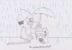 Big brother and little sister in the rain by Krys-DamianiFoo