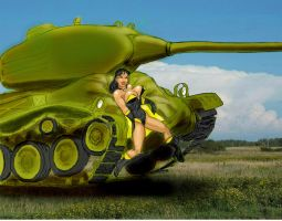 Tank makes a soft landing for Superwoman by svettzwo