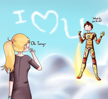 Tony and Pepper: Message in the sky by ice-cream-skies
