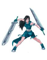 Tifa with her man's weapons by dimsum