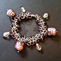 Purple Owl Chainmaille Bracelet by Rosie-Periannath
