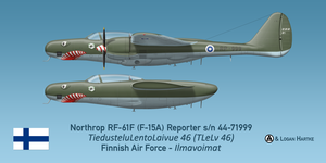 Finnish RF-61F Reporter -  Sharkmouth by comradeloganov