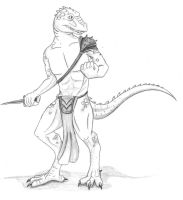 Saurian warrior by pariahpoet