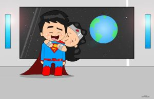 Chibi Superman and Wonder Woman NEW 52 by LaserGunsPewPew18