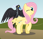 Fluttershy's New Black and White Thunderbird by Avastindy