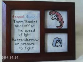 Team Rocket Theme Framed Cross Stitch by agorby00