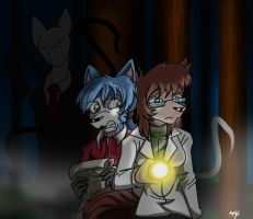 Chevka and Burret in the woods with Slenderdog by Micgrol
