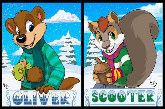 MFF badges: Oliver and Scooter by pandapaco