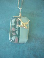 Sparrow Fused Glass Pendant by FusedElegance