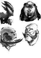 Head sketches 2 by Kidiam